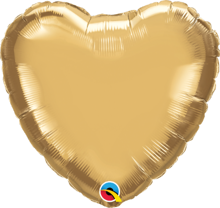 Heart Shaped Gold Chrome Foil Helium Balloon